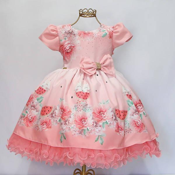 5192567f2b8b Vestido Infantil Melancia Gatos – Menina Bonita